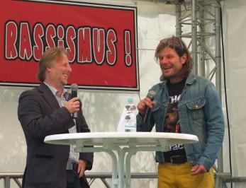 Bester Dinge: Bürgermeister Olaf Cunitz und Moderator Axel 'Beve' Hoffmann